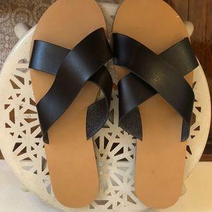 NWOT JCrew Black & Tan Leather Cross Strap Sandals